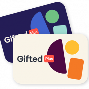 Blue and white Gift cards with Gifted Plus logo - Gifted Plus